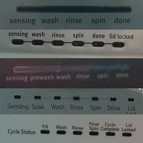 Whirlpool Splutch Washer Lights