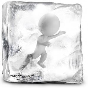 Man Frozen In Ice