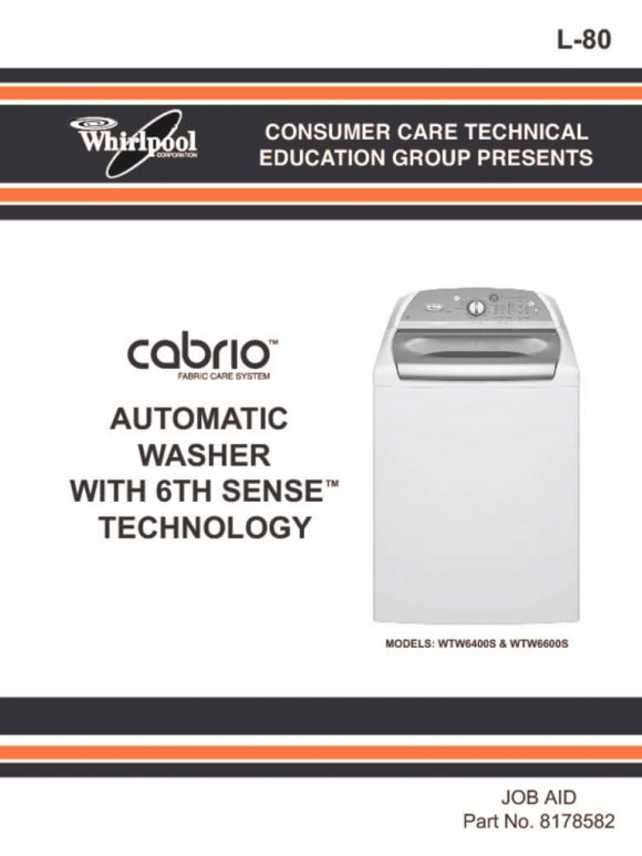 Cabrio Washer 6th Sense Service Manual