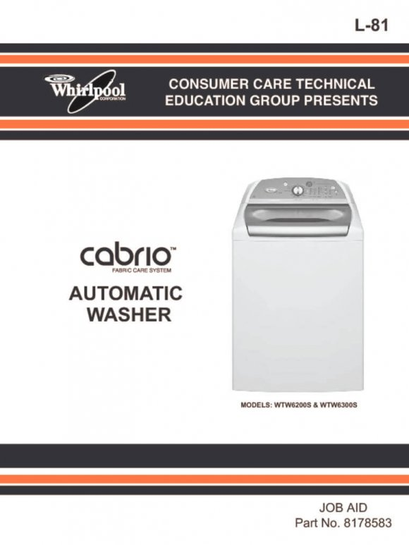 Whirlpool Cabrio Washer Service Manual