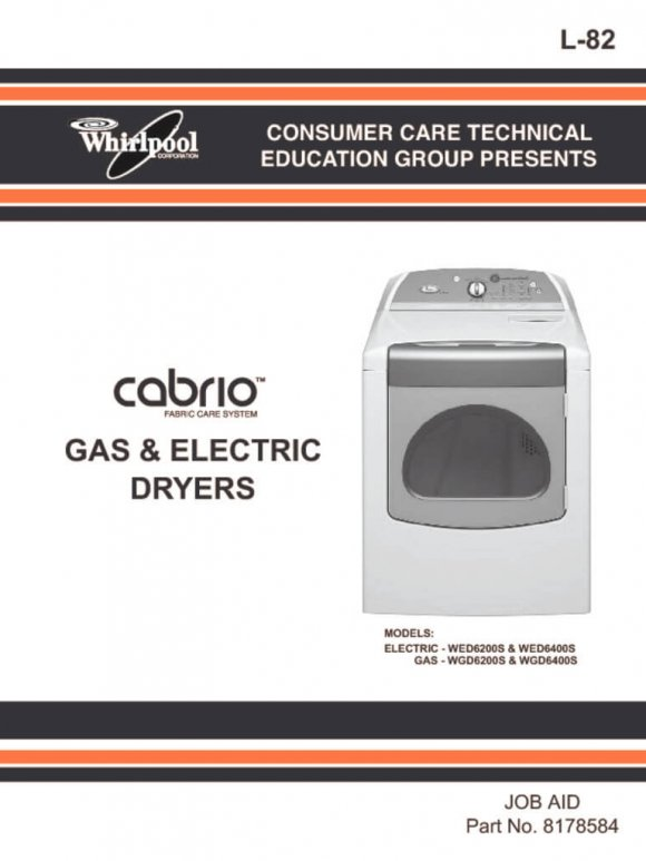 Whirlpool Cabrio Dryer Service Manual