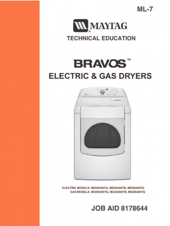 Maytag Bravos Electric and Gas Dryers Service Manual