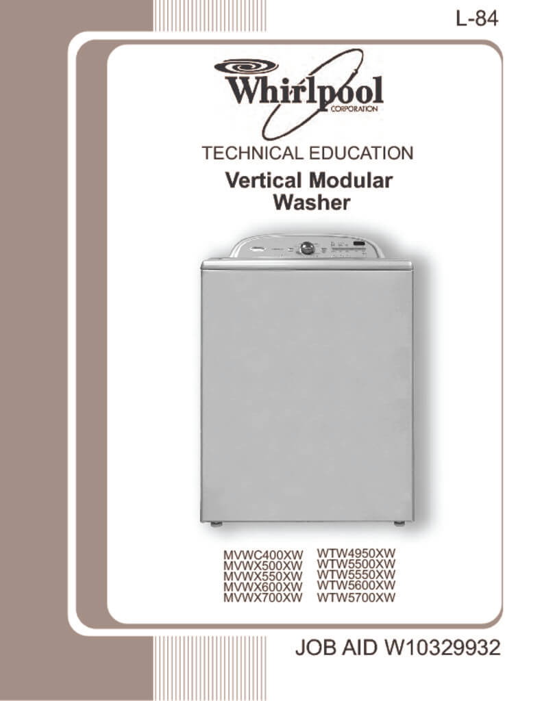whirlpool top load washer service manual download rh applianceassistant com whirlpool duet steam washer and dryer manual Whirlpool Cabrio Problems