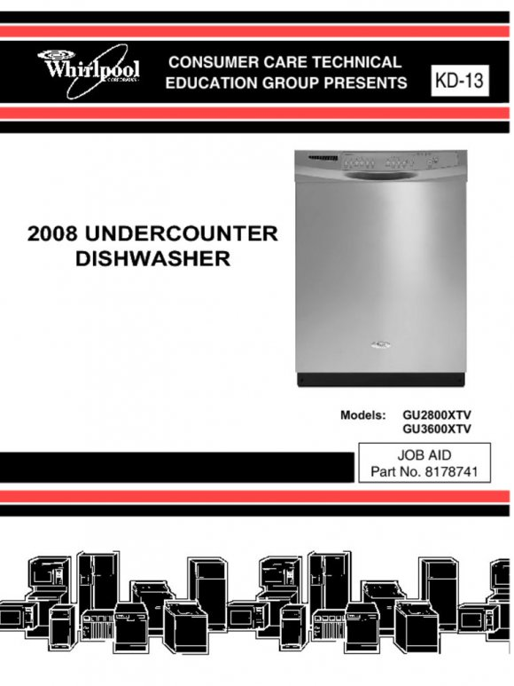Whirlpool Dishwasher Service Manual GU2800 GU3600