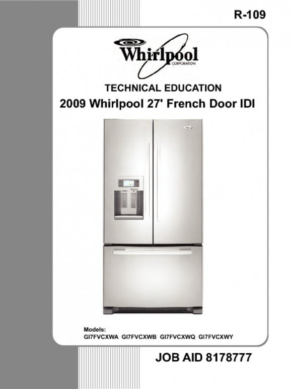 Whirlpool French Door Bottom Freezer Refrigerator Service Manual