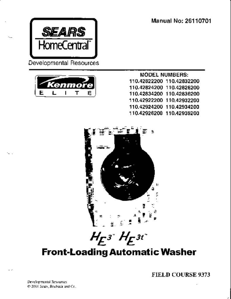 Sears Kenmore Front Loading HE Washer Service Manual