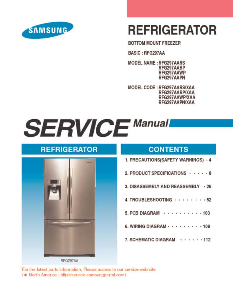 Samsung Refrigerator Service Manual Rfg297aa